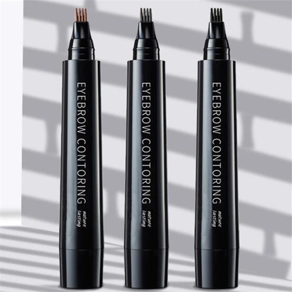 Lápiz de cejas 4 garra tatuaje pluma profesional larga impermeable Microblading fino ojos cosméticos cejas duradero boceto líquido Pe T2S2