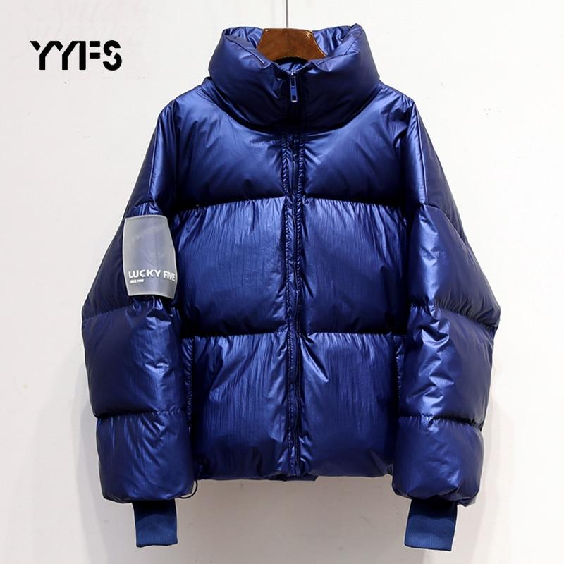 Женская Глянцевая водонепроницаемая куртка парка 2020 зимняя с надписью