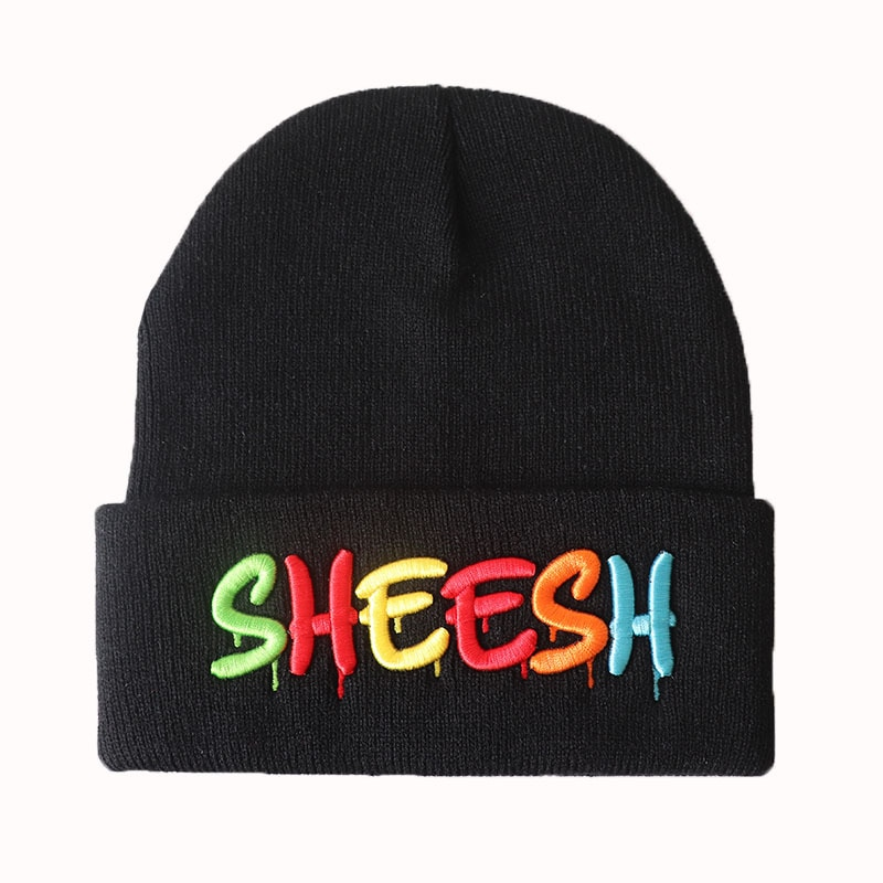 Rainbow Color Sheesh Beanies Letter Embroidery Unisex Warm Knitted Skullies Hip-Hop Bonnet Caps