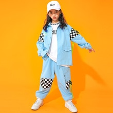 Hip Hop Clothing Sweatshirt Tops Casual Pants For Girls Hip Hop Blue Stage Outfit Jazz Ballroom Danc