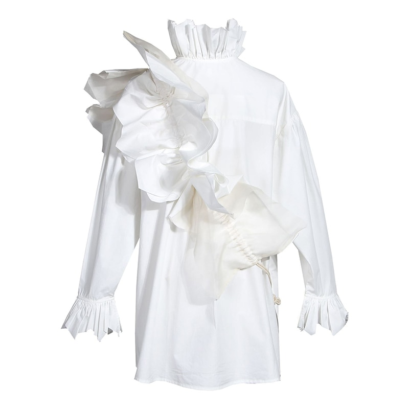 Corea las mujeres blanco volantes Split Blusa con cuello alto nueva manga larga camisa holgada de marea de la Moda de Primavera otoño 2020 1N882