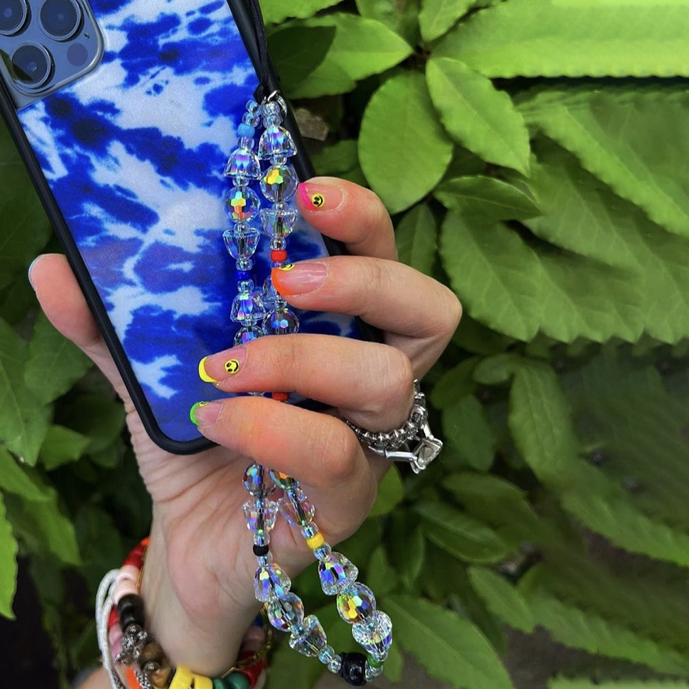 Japanese and Korean Popular Colored Glass Beaded Semi-round Transparent Crystal Mobile Phone Chain Pendant