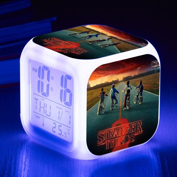 Reloj Digital de acción extraño cosas alarma con LED de Color luminoso Variable dusty Eleven Stranger cosas reloj de juguete para niños