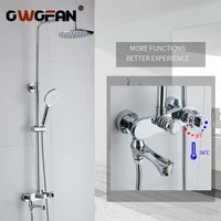 modern bathroom rainfall thermostatic shower faucet set chrome mixer taps with hand shower head wall mounted shower set r45 503
