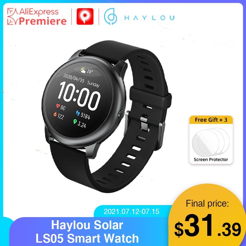 YouPin Haylou solar LS05 ساعة ذكية الرياضة حافظة معدنية معدل ضربات القلب النوم مراقب IP68 مقاوم للماء 30 يوم بطارية iOS آيفون أندرويد