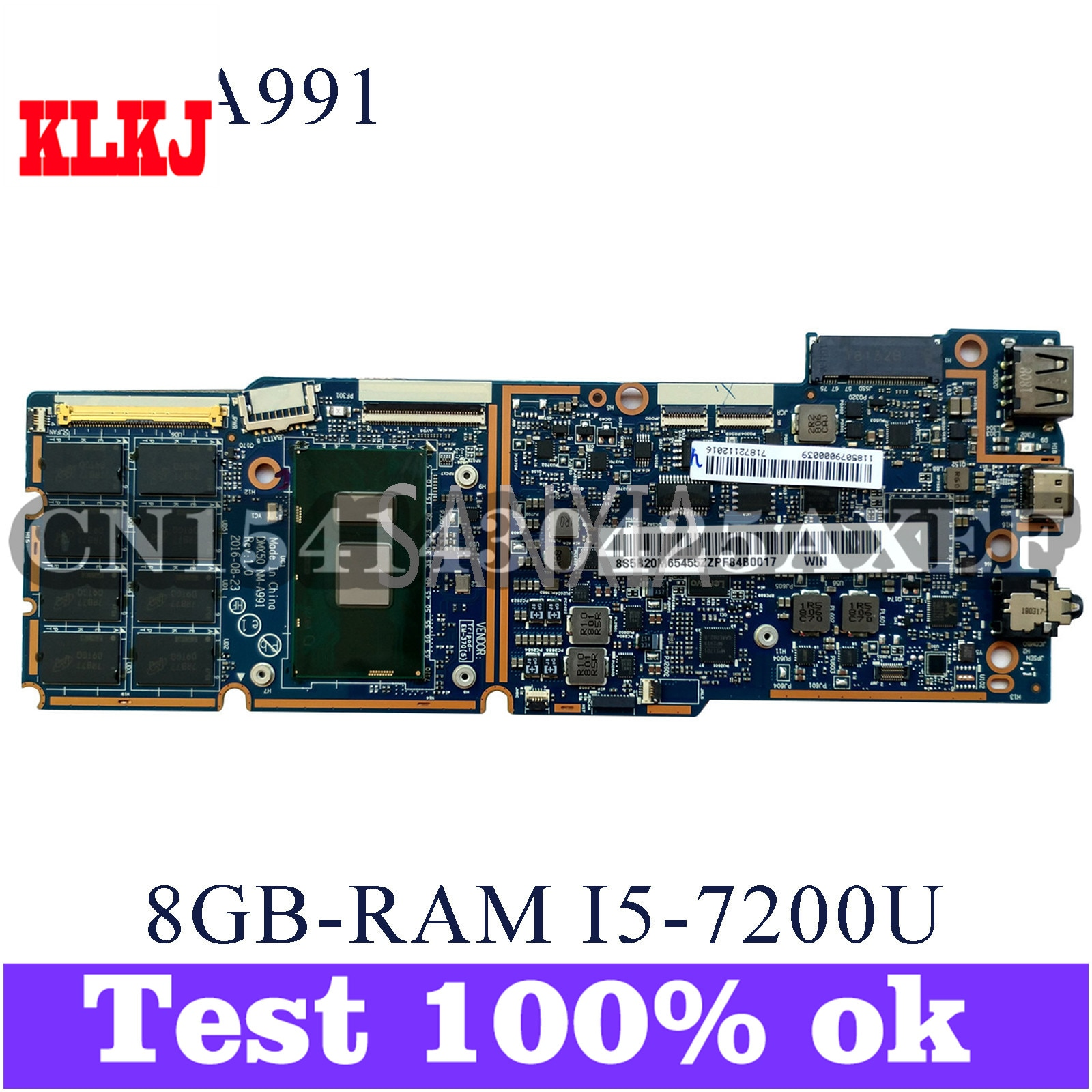 KLKJ NM-A991 اللوحة الأم لأجهزة الكمبيوتر المحمول لينوفو MIIX 720-12IKB اللوحة الرئيسية الأصلية 8G-RAM I5-7200U