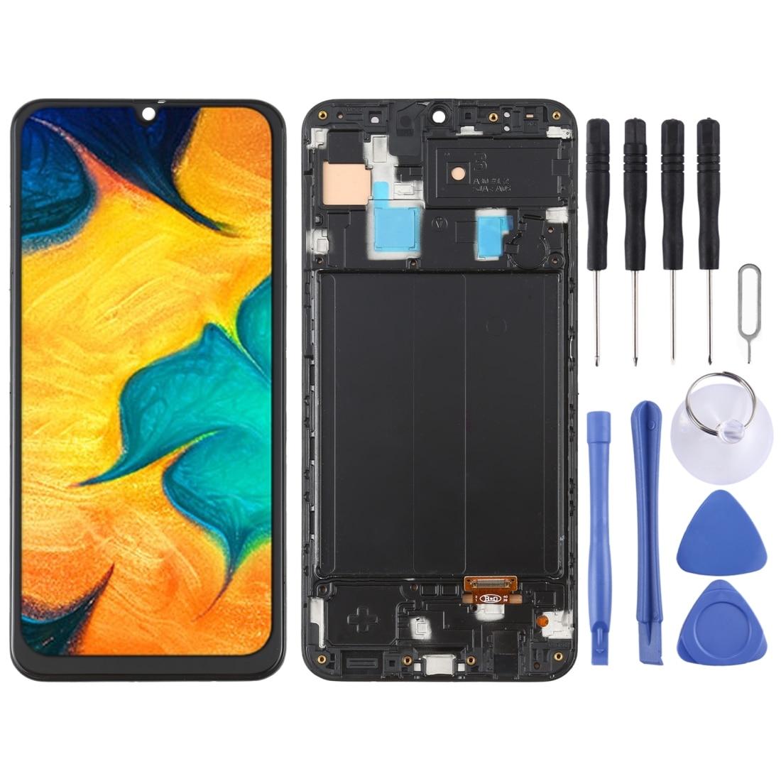 IPartsBuy OLED المواد شاشة LCD وتحويل الأرقام الجمعية الكاملة مع الإطار لسامسونج غالاكسي A30 SM-A305