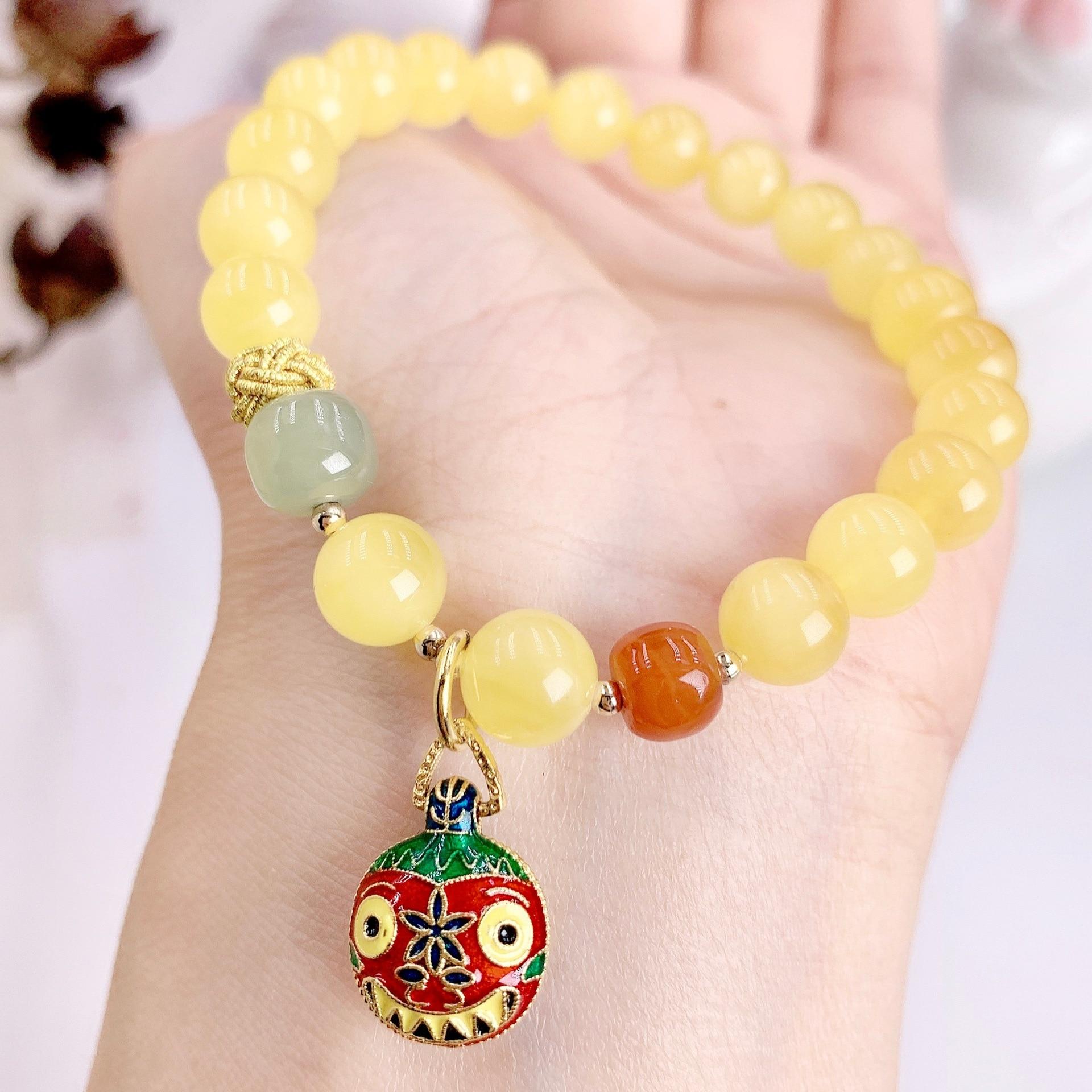 Original design beeswax bracelets for women girlsSouth Red Jasper S925 sterling Silver Golden Swallowing Beast Pendant jewelry