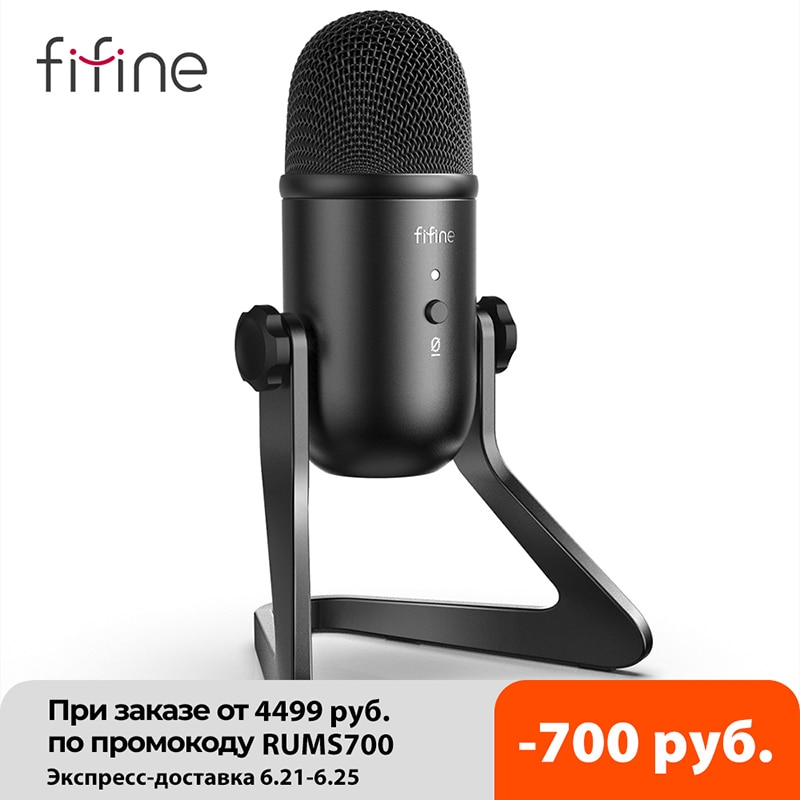 FIFINE micrófono USB para grabación/Streaming/Gaming, micrófono profesional para PC, salida de auriculares con micrófono y Control-K678 de volumen