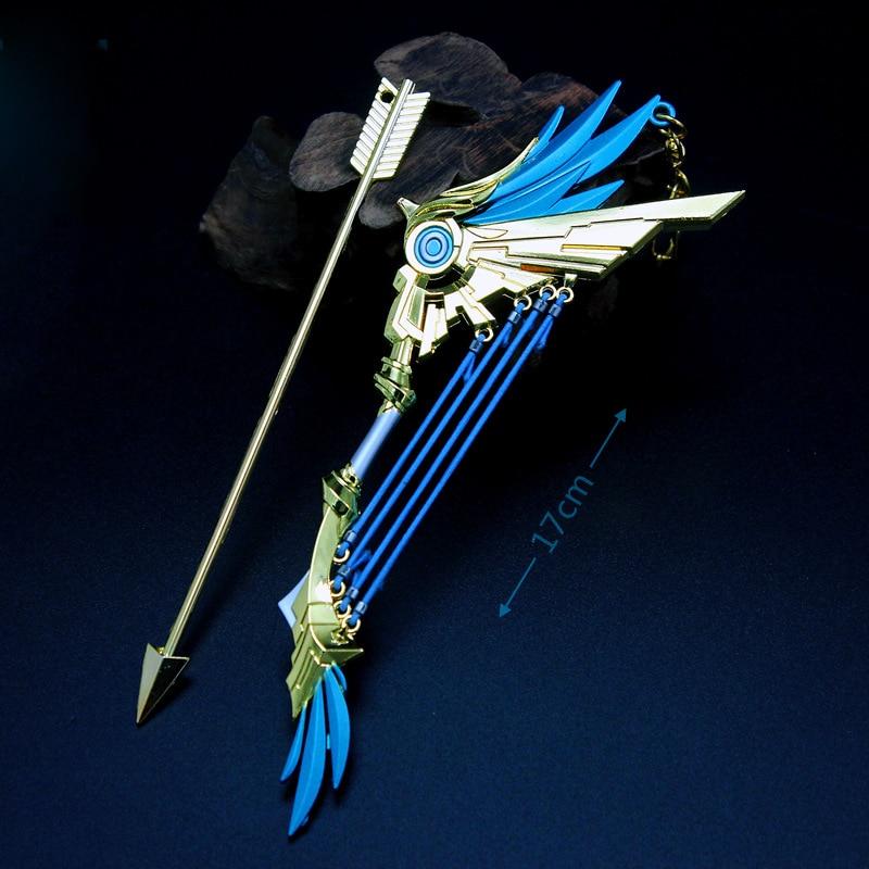 17cm Genshin Impact Anime Character Five-star Weapon Alloy Knife Sword Long Spear Longbow Model Key Chain Pendant Gift