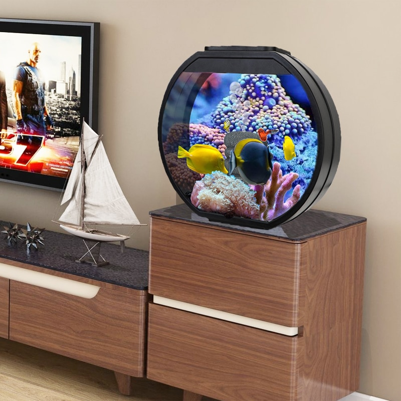 Fashion Creative Fish Tank Decoration Living Room Office Desktop Small round Glass Ecological Lazy Free Change Aquarium
