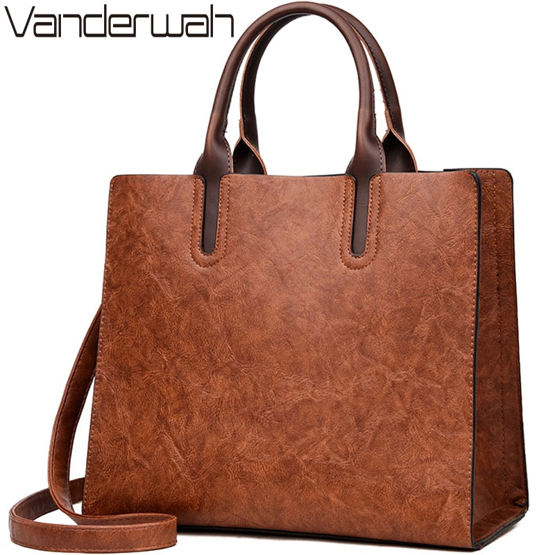 NEW Vintage OIL SKIN Leather Big Casual Tote women bags High Quality Women's Handbags Shoulder Crossbody Bag Messenger Bags sac