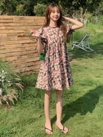 ladies summer new style korean fashion youth sweet retro loose floral puff sleeve short pink dress