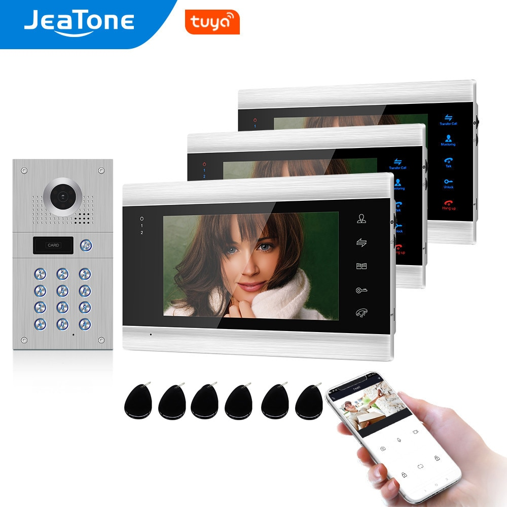 Tuya Smart Free App Video Door Phone WiFi Video Intercom 3 Monitors 960P HD Security Access Control System Code Keypad RFID Card