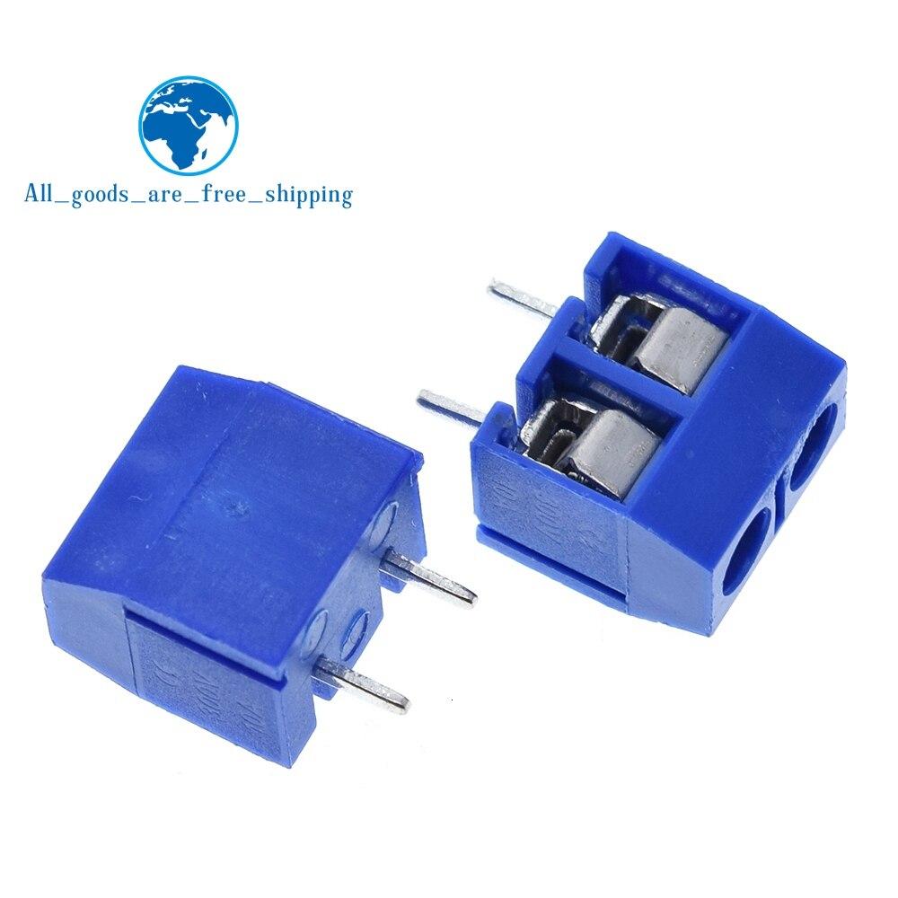 TZT, 100 Uds., 5.08-301-2P 301-2 P, 2 terminales de tornillo del perno, Conector de bloqueo de paso de 5mm