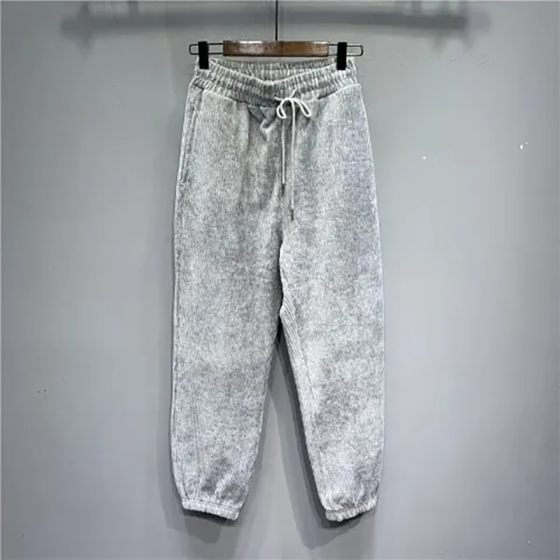 كاندي الألوان الخريف الشتاء سروال قصير المرأة Sweatpants غير رسمية 2021 فضفاض موضة الدافئة واسعة الساق الدانتيل يصل السراويل ضئيلة بنطلون