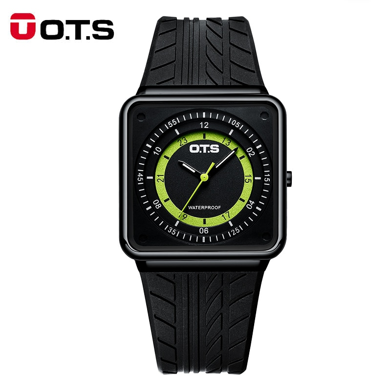 OTS New Fashion Mens Watches Thin Clock Rubber Quartz Watch Men Relogio Masculino Wristwatch Gift