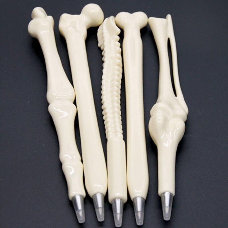 5 pcs/lot Novelty Bone Shape Ballpoint Pen 0.7mm Ink Refill Writing Ball Pens School Office Stationery Gifts Supplies
