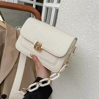 korean version of simple ladies buckle shoulder bag 2021 new fashion one shoulder small square bag net red messenger bag