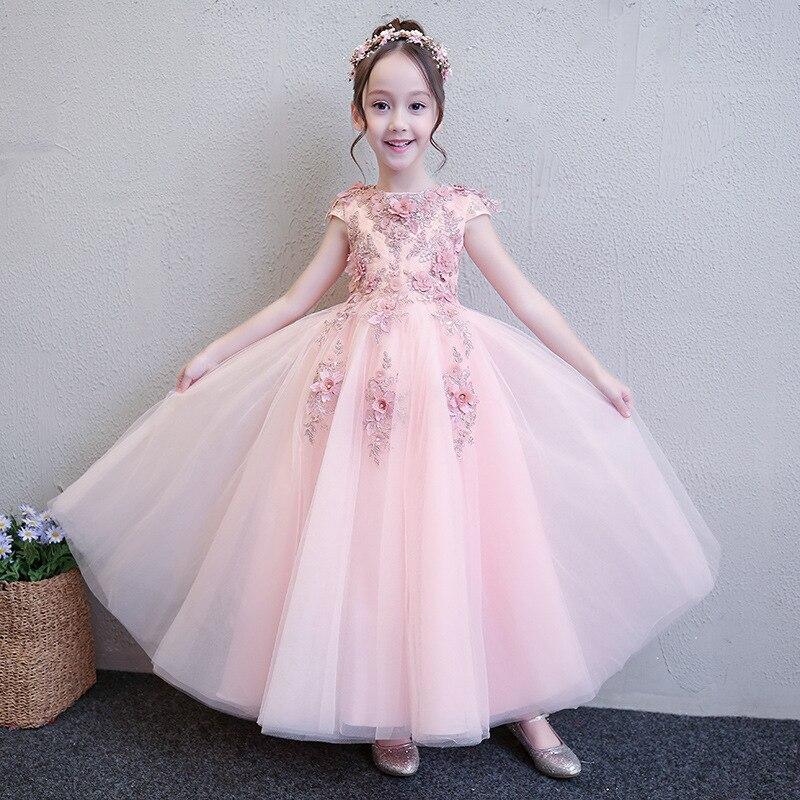 Vestido rosa de cumpleaños para niñas vestido de princesa flor esponjosa niña vestido de boda niña pasarela piano disfraz