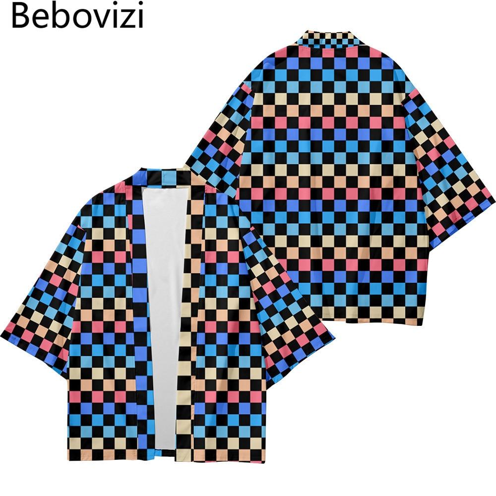 Халат-кимоно, кардиган, мужские рубашки, женская одежда юката, хаори, женская одежда, цвет синий, шахматная уличная мода, Пляжная японская мо...