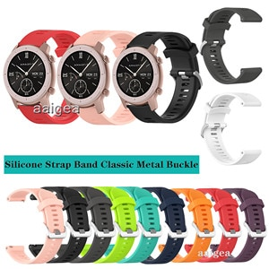 20mm Silicone Watch Band Classic Metal buckle Strap for Huami Amazfit GTR 42mm for Huami Bip Lite S U GTS2 Neo Replacement strap