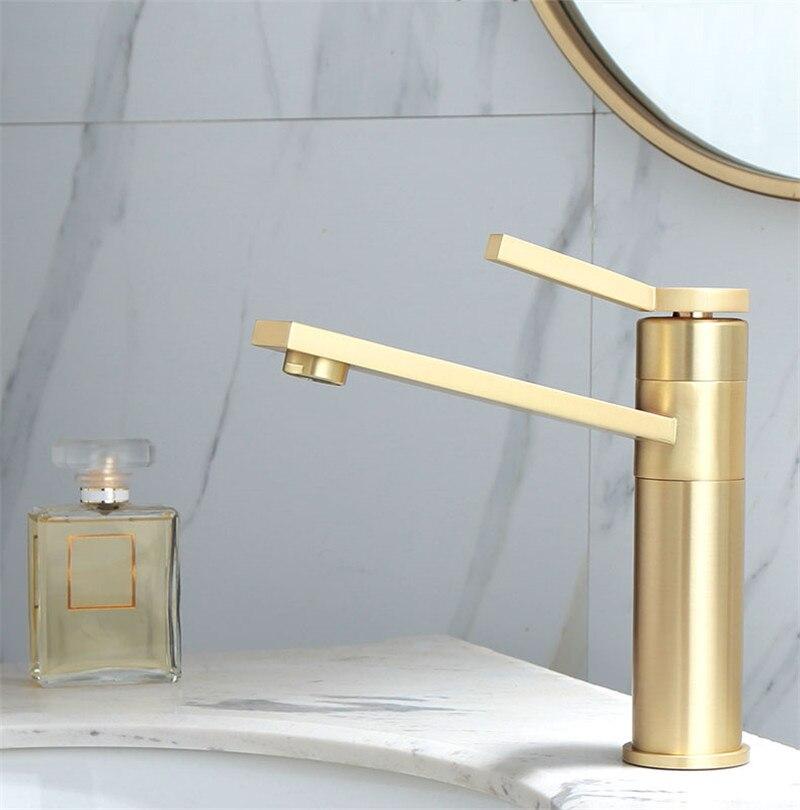 الحمام صنبور الصلبة النحاس حوض للحمام صنبور الباردة والساخنة خلاط المياه صنبور مصرف مقبض واحد سطح شنت نحى الذهب الحنفية
