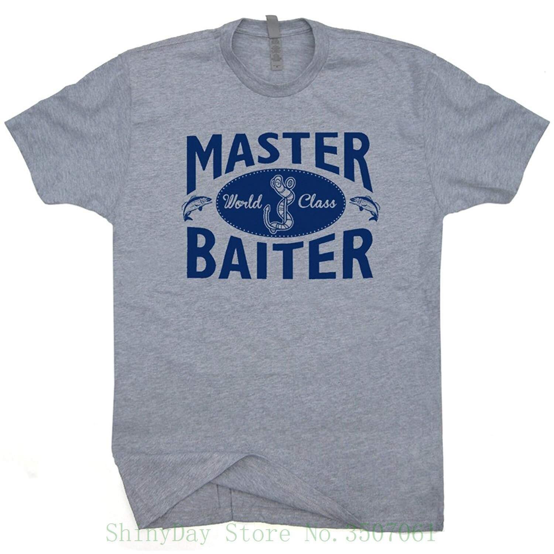 Master Baiter camiseta divertida Fisher camisas de juegos de palabras pescador ofensivo diciendo grosero eslogan novedad Humor camiseta sucio gráfico Retro