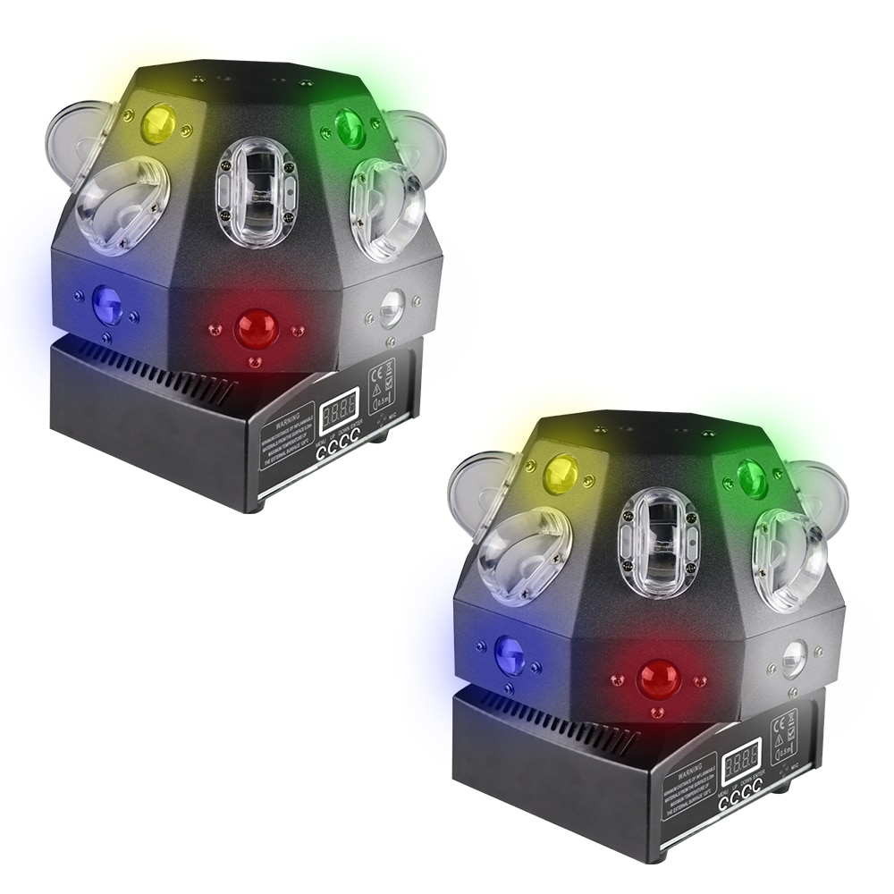 2 قطع الليزر شعاع نمط الملونة تأثير ضوء المرحلة Dj تتحرك رئيس ضوء ديسكو الليزر الدورية فلاش المسح الضوئي