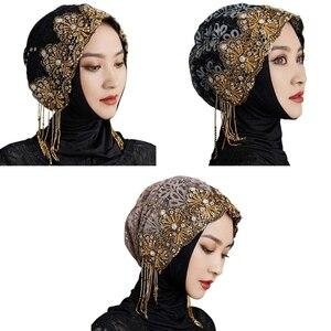 Stretchy Hijab Fashion Lightweight Headwrap Lace Knitted Prayer Turban Hats Muslim Head Wrap Elastic Cancer Chemo Cap