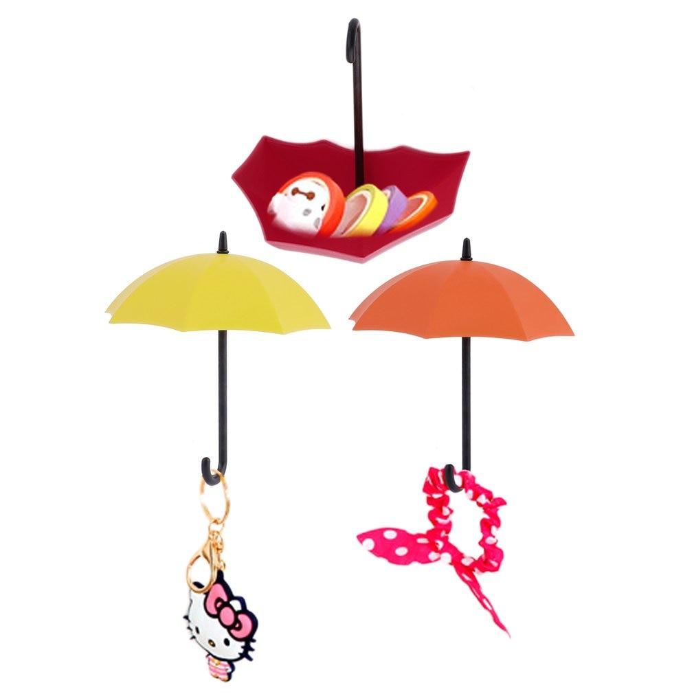 3 Pcs Umbrella Wall Hook Colorful Key Hair Pin Holder Storage Tray Rack Decorative Hanger Kitchen Organizer Bathroom Accessories