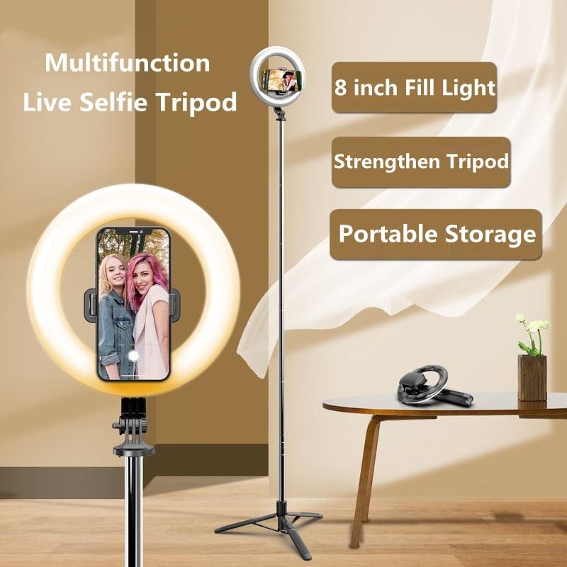 FANGTUOSI 2021 جديد سماعة لاسلكية تعمل بالبلوتوث متوافق Selfie عصا ترايبود مع 8 بوصة LED حلقة التصوير ضوء للهاتف فيديو لايف