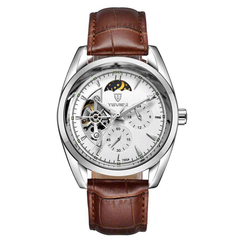 TEVISE Men Watch Tourbillon Automatic Leather Strap Watches Luxury Moon Phase Mechanical Waterproof