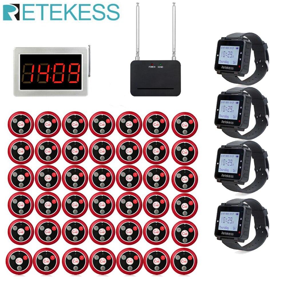 Retekess-نظام الاتصال بالمطعم ، مستقبل خدمة النادل ، مضيف استقبال 4 ساعات ، مكرر إشارة 42 زرًا للاتصال ، شيشة