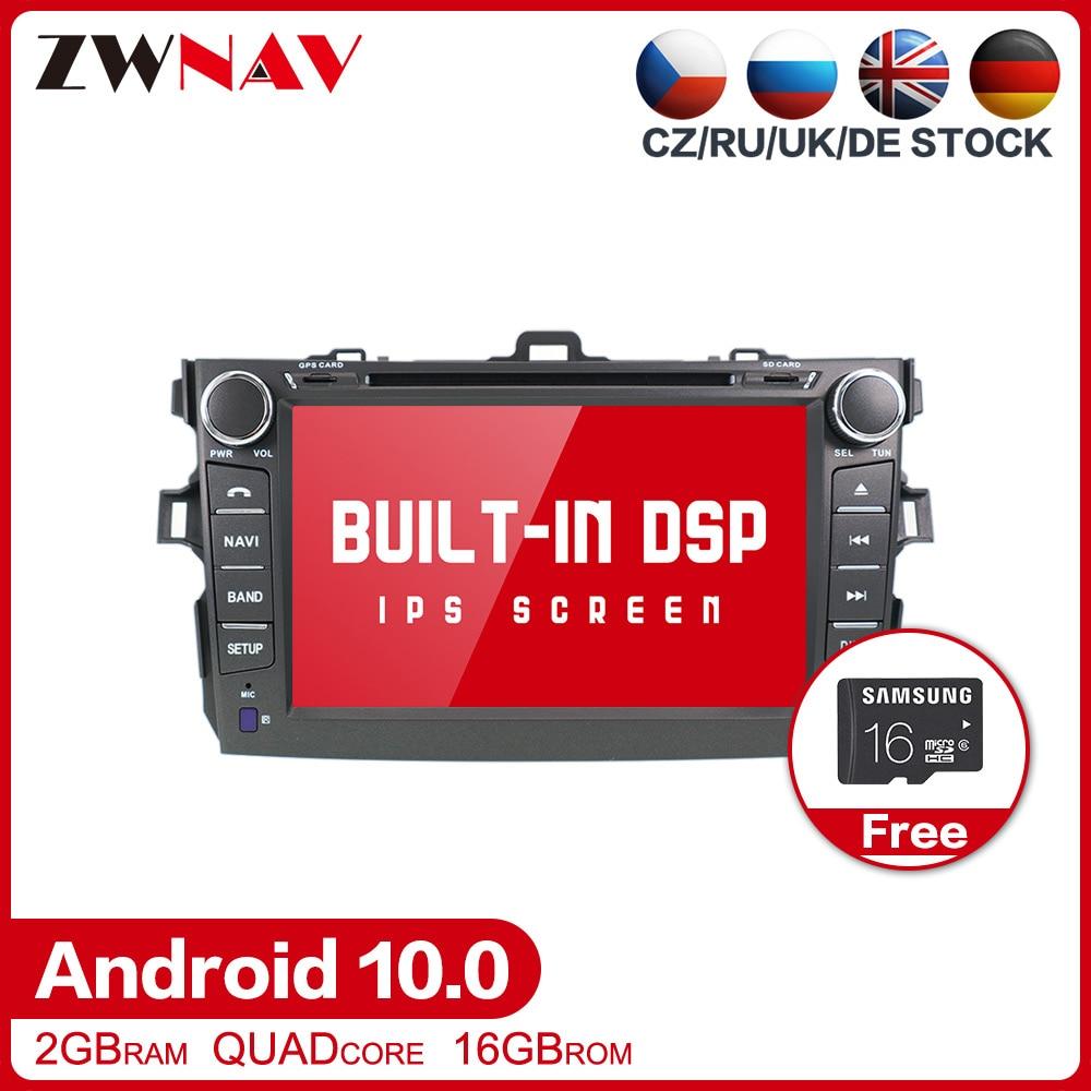 Dsp kit multimídia automotivo com dvd, android 10.0, estéreo, player multimídia, para toyota corolla 2007-2013, rádio gps, navi mapa estéreo da unidade