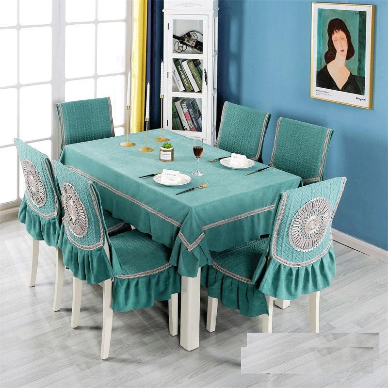 مفرش طاولة بلون دافئ أفخم مخدة كرسي ريترو ستايل غطاء طاولة الطعام لحفل الزفاف غطاء مقعد مفارش المائدة مجموعة