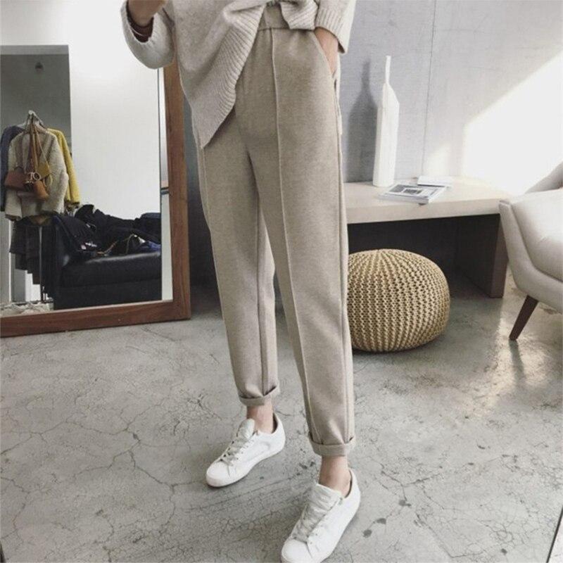 Зимние утепленные женские брюки-карандаш Daycloth, женские шерстяные брюки для работы, женские свободные брюки с высокой талией на весну и осен...