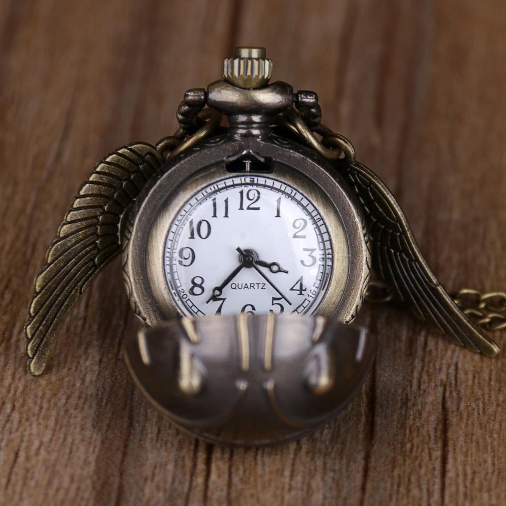 20pcs Golden Snitch Ball Shaped Quartz Pocket Watch Fashion Sweater Angel Wings Necklace Pendant Gifts for Men Women kids