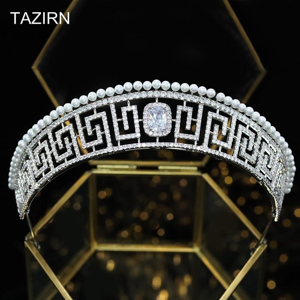 Luxury Cubic Zirconia European Royal Princess Crown Zircon Pageant Pearl Tiaras CZ Wedding Bridal Headpieces Party Hair Jewelry