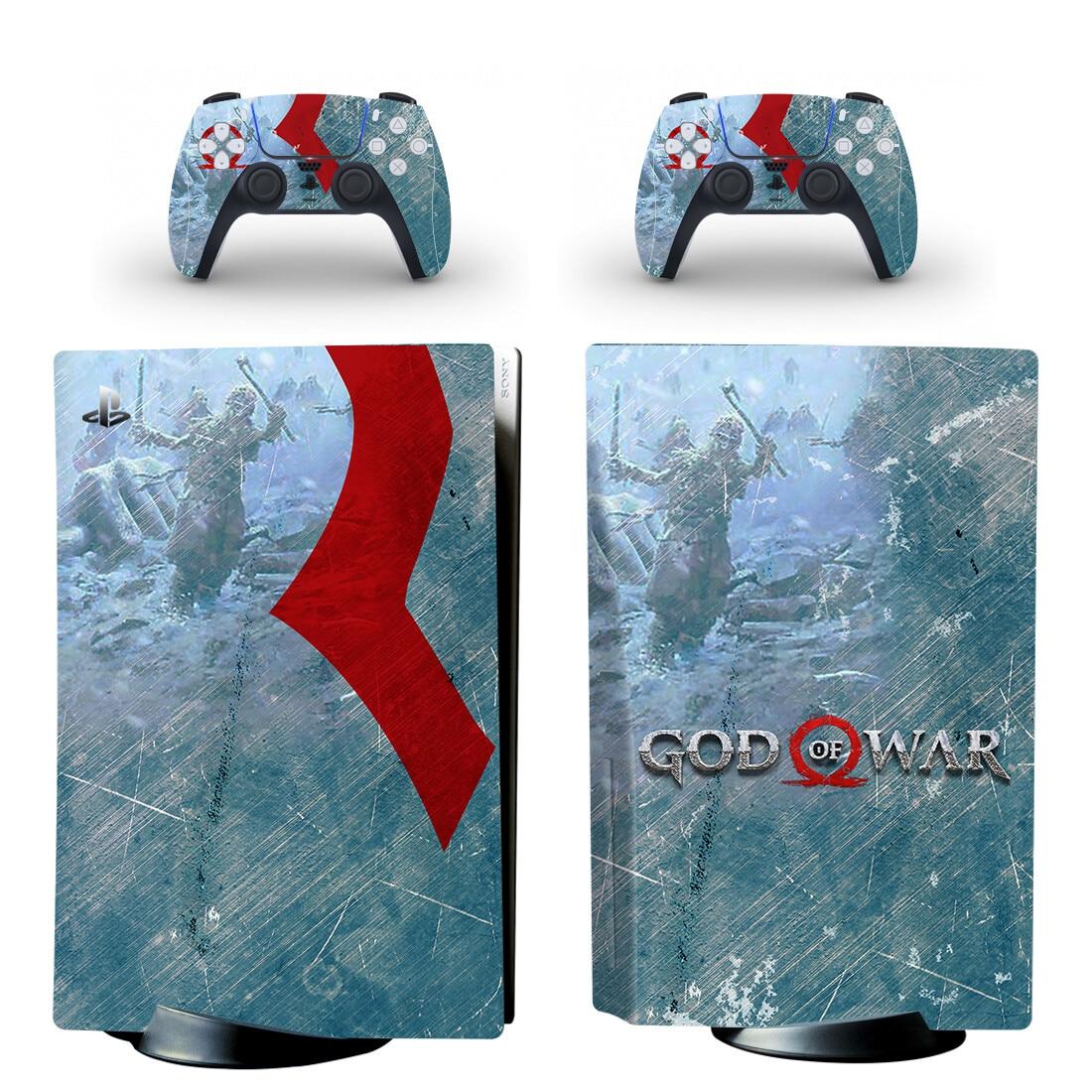 إله الحرب PS5 القرص طبعة الجلد ملصق مائي غطاء ل بلاي ستيشن 5 وحدة التحكم و تحكم PS5 القرص الجلد ملصق الفينيل