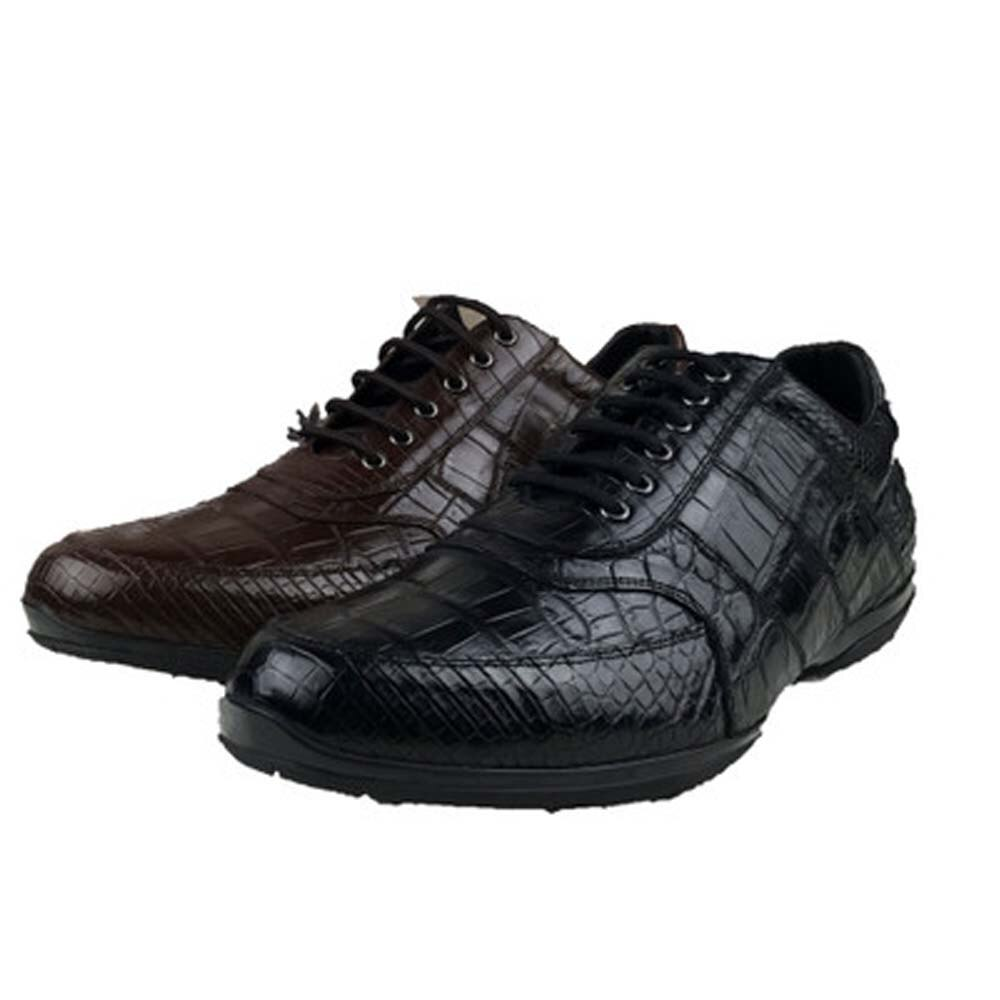 Ousidun-أحذية رجالية غير رسمية من جلد التمساح ، أحذية برباط ، طراز غير رسمي ، مساعدة
