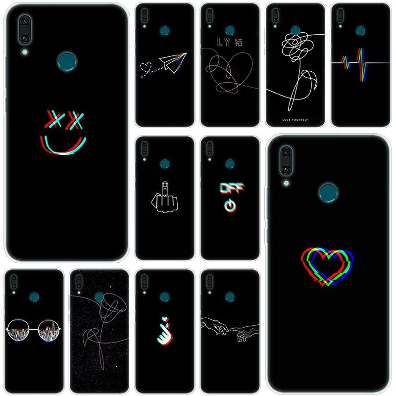 Caliente línea abstracta cara arte oscuro funda de silicona suave para Huawei Mate 30 20 10 Lite Pro Y9 Y7 Y6 primer Y5 2019 de 2018 Pro 2017