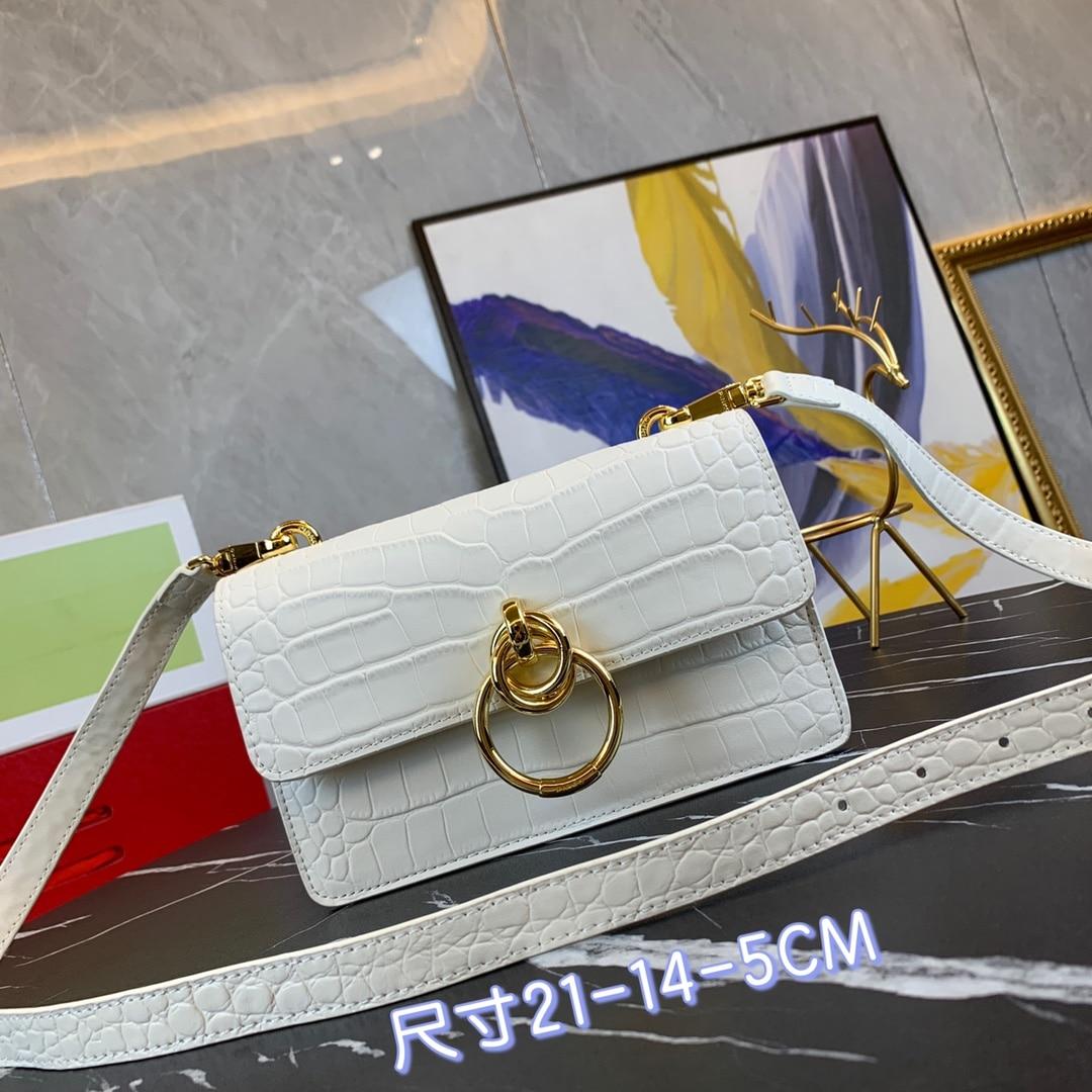 Crocodile pattern women's bag 2020 new shoulder bag wide shoulder strap retro wax leather organ bag sweet joker messenger bag