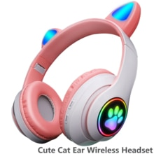 Pink Cute Cat Ears Wireless Headphone Bluetooth-compatible Headset Stereo Foldable Earphone with Mic