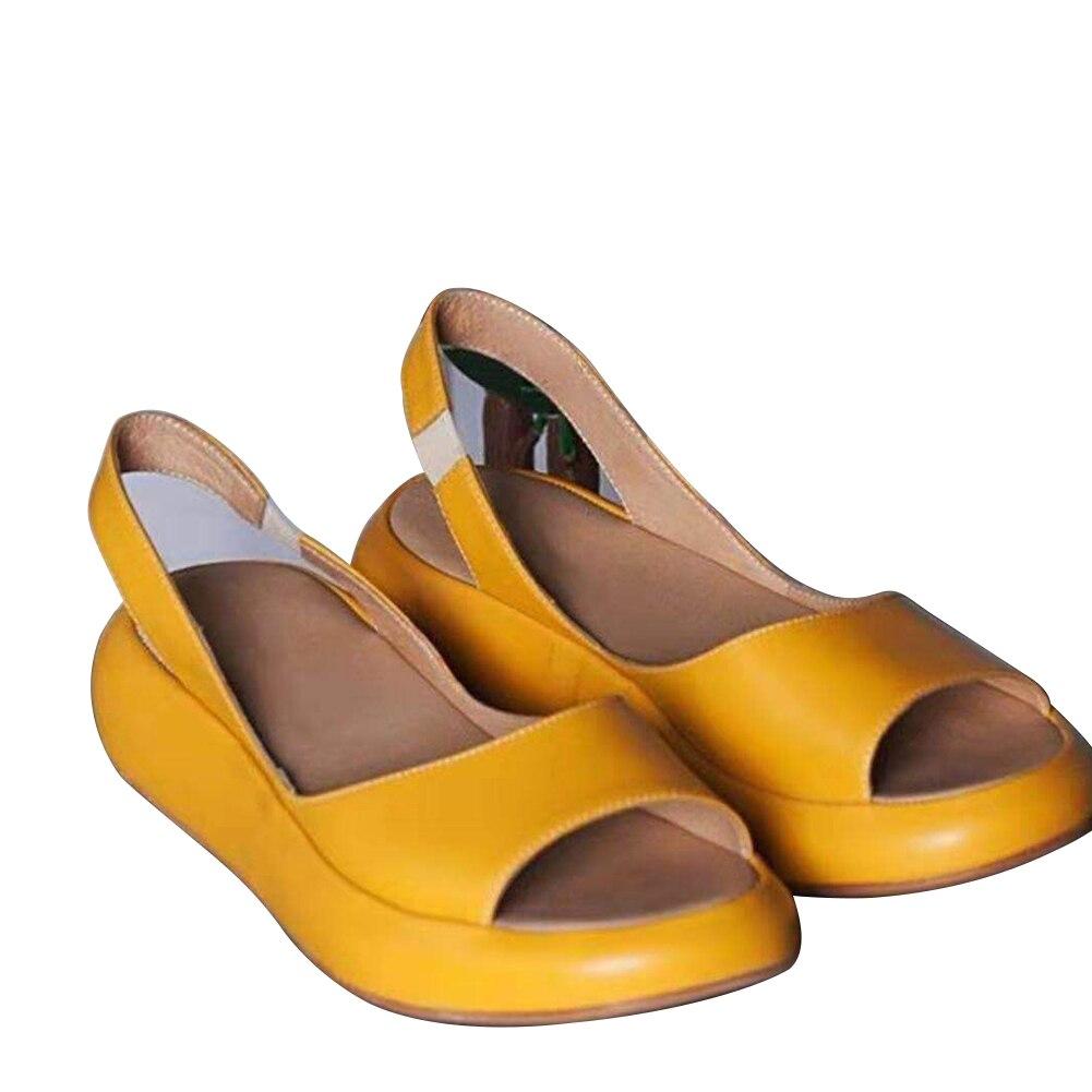 Female Spring Summer Casual Wedge Heel Flip Flops Slip On Solid Platform Open Toe Thick Bottom Women