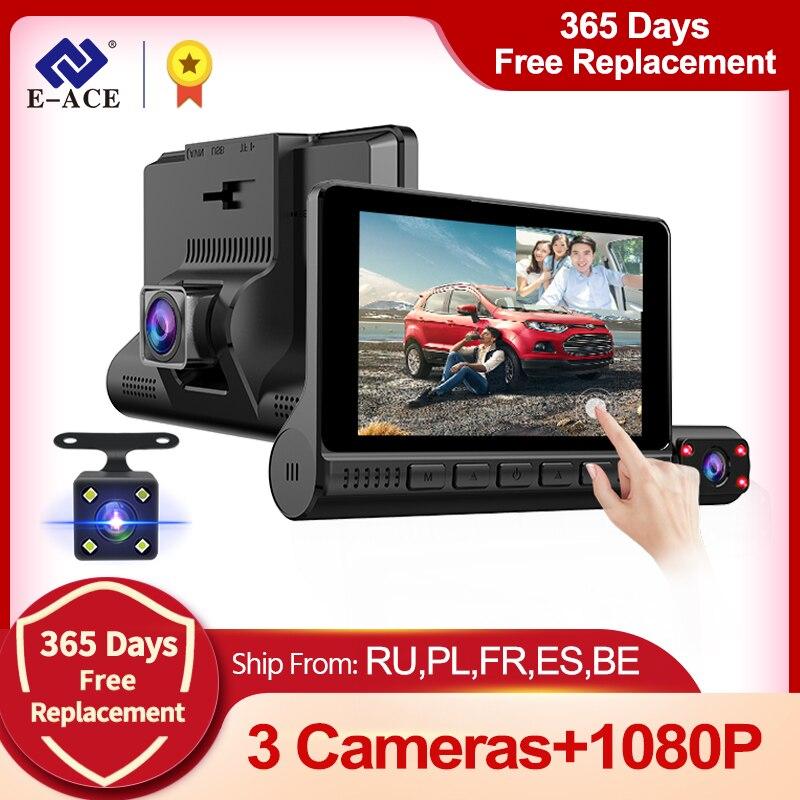 E-ACE 3 Cameras Lens 4.0 Inch Touch Screen Car Dvr  Video Recorder FHD 1080P Auto Dash Camera support Rear view Camera