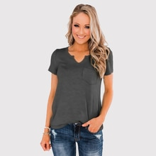 DAO XING T-Shirt basique à manches courtes à col en v pour femme avec poche pour femme
