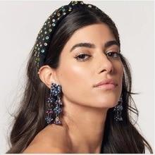 Diademas anudadas de diamante de Flash de colores, accesorios para el cabello hechos a mano, diademas para niñas con lazo de flores para mujeres