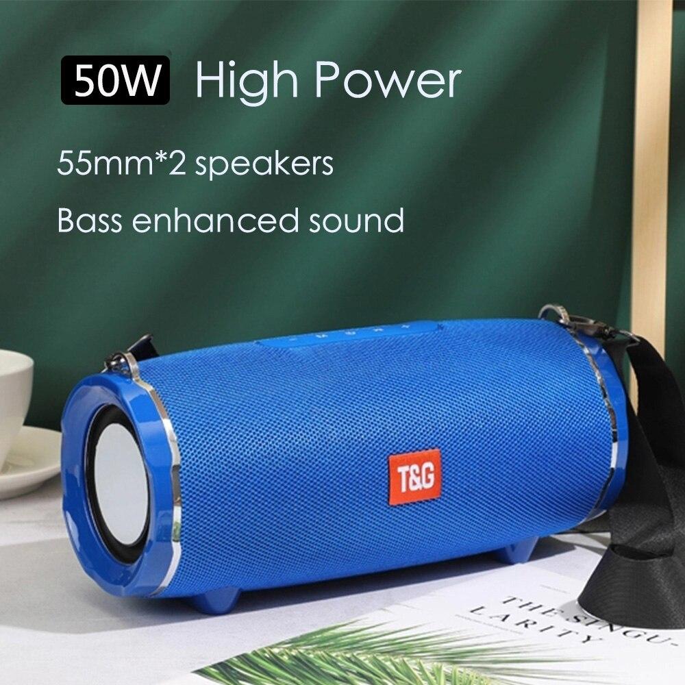 Tg187 alto-falante de alta potência 50w bluetooth coluna portátil à prova dwaterproof água soundbar baixo estéreo subwoofer tg alto-falantes com fm aux tf usb
