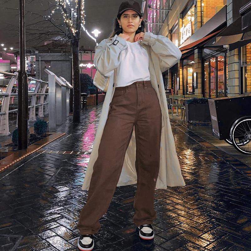 Vintage baggy brown jeans feminino streetwear solto calças de cintura alta harajuku moda algodão denim sweatpants jeans
